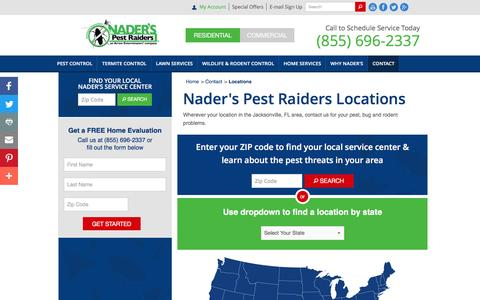 Screenshot of Locations Page naderspestraiders.com - Nader's Pest Raiders Locations - captured Dec. 6, 2016