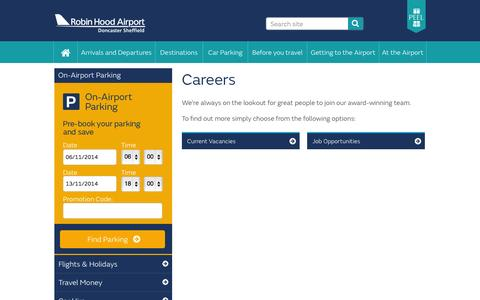 Screenshot of Jobs Page robinhoodairport.com - Careers | Robin Hood Airport - captured Nov. 5, 2014