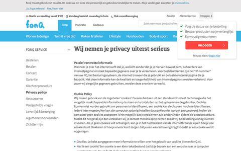 Screenshot of Privacy Page fonq.nl - Wij nemen je privacy uiterst serieus - captured June 24, 2017
