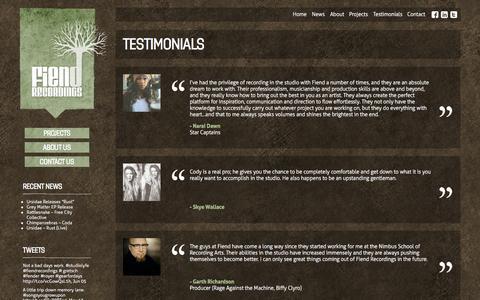 Screenshot of Testimonials Page fiendrecordings.ca - Testimonials | Fiend Recordings - captured Sept. 30, 2014