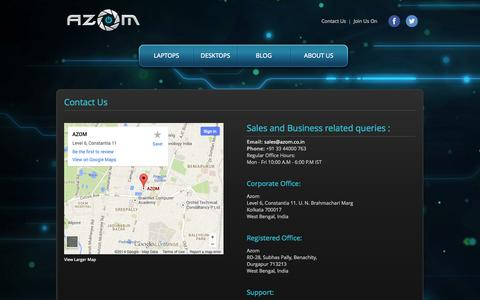 Screenshot of Contact Page azom.co.in - Contact Us :: Azom - captured Sept. 30, 2014