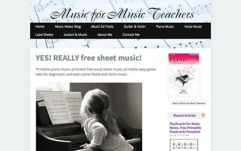 Screenshot of Home Page music-for-music-teachers.com - Free Sheet Music for Teachers of Piano, Voice, and Guitar - captured Oct. 29, 2017