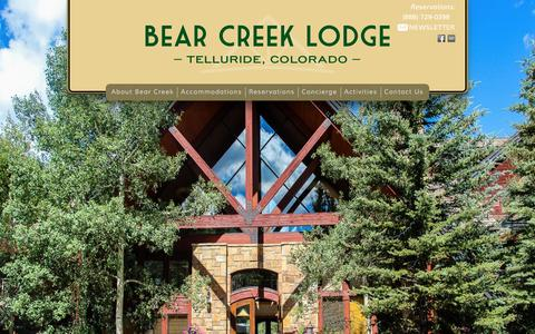 Screenshot of Home Page bearcreeklodgetelluride.com - Bear Creek Lodge of Telluride | Telluride Hotels, Lodging & Ski Hotels - captured Feb. 7, 2016