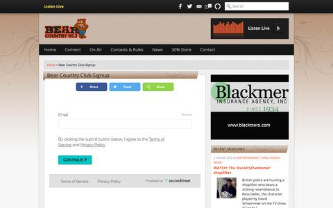 Screenshot of Signup Page bear953.com - Bear Country Club Signup | Bear Country 95.3 - captured Oct. 25, 2018