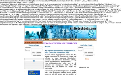 Screenshot of Home Page allbiotechjobs.com - Allbiotechjobs.com bringing job seekers and job providers in Biotechnology - captured Feb. 5, 2016