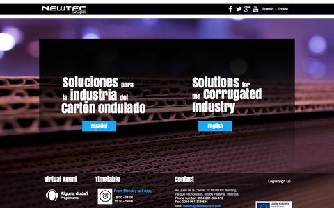 Screenshot of Home Page newtecgrupo.com - NEWTEC Grupo - captured Oct. 9, 2014