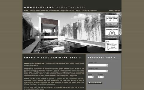 Screenshot of Home Page amanavillas.com - AMANA VILLAS SEMINYAK BALI / Luxury Green Villas Seminyak Bali Indonesia - captured Sept. 30, 2014