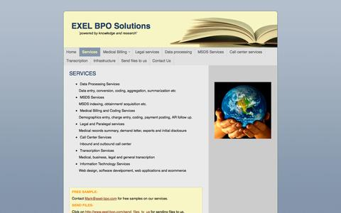 Screenshot of Services Page exel-bpo.com - Exel BPO Services - Services - captured Oct. 3, 2014