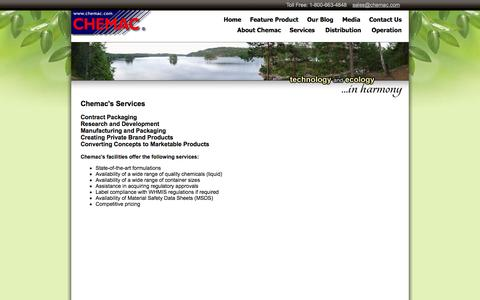 Screenshot of Services Page chemac.com - Chemac Industries Inc. - captured Oct. 2, 2014