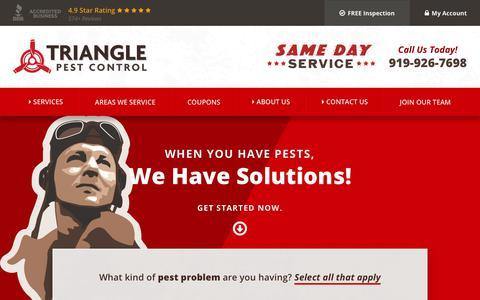 Screenshot of Home Page trianglepest.com - Pest Control Services | Local Exterminators | Triangle Pest Control - captured Oct. 20, 2018