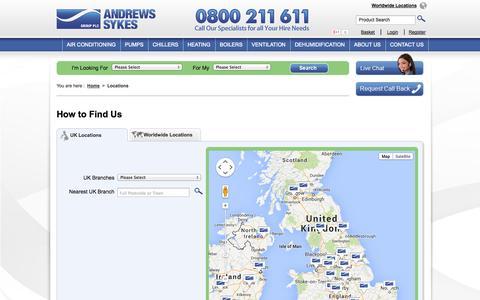 Screenshot of Locations Page andrews-sykes.com - UK Locations - Andrews Sykes - captured Sept. 19, 2014