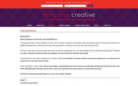 Screenshot of Testimonials Page fengshuicreative.com - Feng Shui Creative - Testimonials   Feng Shui Creative - captured Aug. 3, 2016