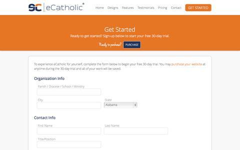 Screenshot of Trial Page ecatholicwebsites.com - Catholic Website Design Free 30-Day Trial :: eCatholic - eCatholicWebsites.com - captured Oct. 3, 2014