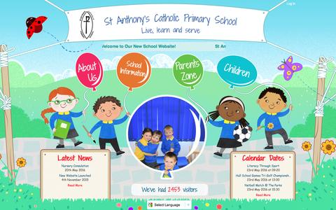 Screenshot of Home Page st-anthonys.hull.sch.uk - Home | St Anthony's Catholic Primary School Hull - captured May 23, 2016