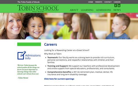 Screenshot of Jobs Page tobinschoolwestwood.org - Careers - Tobin School Westwood - captured Feb. 22, 2016