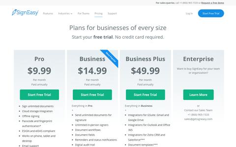 Screenshot of Pricing Page getsigneasy.com - Plans & Pricing - SignEasy - captured Feb. 1, 2017