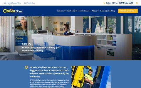 Screenshot of Jobs Page obrienglass.com.au - O'Brien Careers | O'Brien Glass | Australia - captured Feb. 4, 2016