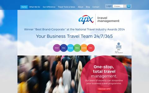 Screenshot of Home Page apx.co.nz - Business Travel Management - APX - captured Sept. 11, 2015