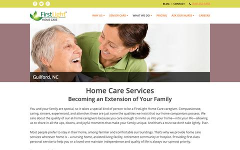 Screenshot of Services Page firstlighthomecare.com - Services - Guilford, NC - captured Sept. 28, 2018