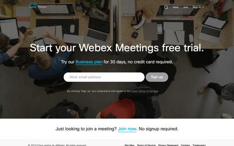 Screenshot of Trial Page webex.com - Webex Free Trial | Try Webex for Free for 30-Days - captured March 12, 2019