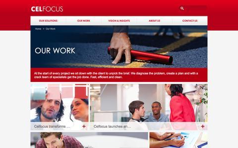 Screenshot of Case Studies Page celfocus.com - Celfocus: Our Work - captured Jan. 26, 2016