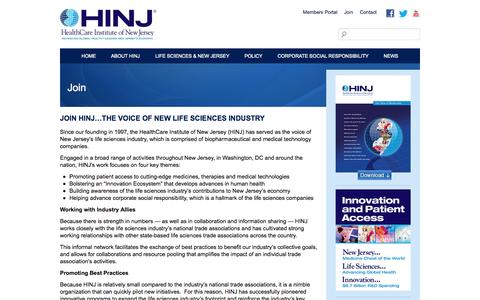 Screenshot of Signup Page hinj.org - Join - HealthCare Institute of New Jersey - captured Oct. 2, 2014