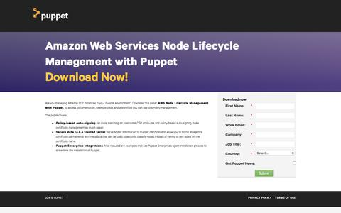 Screenshot of Landing Page puppetlabs.com - Amazon Web Services Node Lifecycle Management with Puppet - captured Sept. 12, 2018