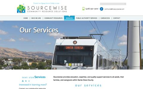 Screenshot of Services Page mysourcewise.com - | Sourcewise of Santa Clara County - captured Oct. 3, 2014