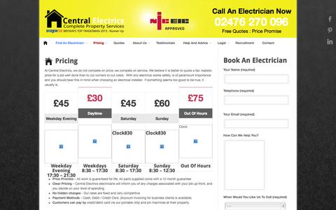 Screenshot of Pricing Page centralelectrics.com - Central Electrics : Electricians In Coventry Pricing - Central Electrics : Electricians In Coventry - captured Sept. 29, 2014