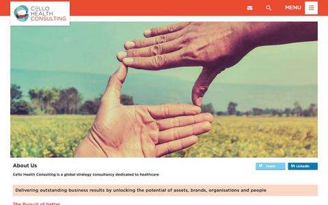 Screenshot of About Page cellohealthconsulting.com - About Us - Cello Health Consulting - Cello Health delivers a fusion of expertise to unlock the potential of organisations, brands and assets - captured Oct. 28, 2016