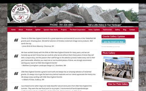 Screenshot of Testimonials Page oldenewenglandgranite.com - Olde New England Granite Testimonials | Olde New England Granite - captured Sept. 24, 2018