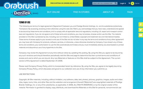 Screenshot of Terms Page orabrush.com - Terms of Use   Orabrush Tongue Cleaner - captured June 22, 2017
