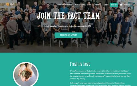 Screenshot of Jobs Page pactcoffee.com - Pact | Careers - captured April 24, 2018