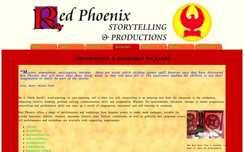 Screenshot of Services Page redphoenixstory.co.uk - Red Phoenix Storytelling and Productions - captured Oct. 7, 2014
