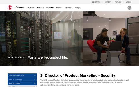 Screenshot of Jobs Page f5.com - [San Jose] Sr Director of Product Marketing - Security - captured March 8, 2018