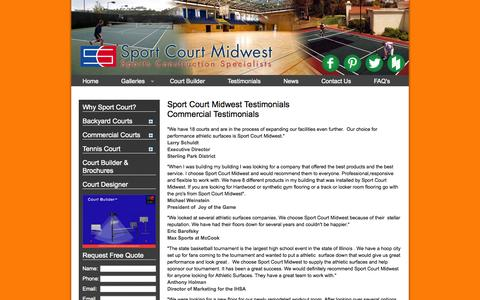 Screenshot of Testimonials Page courtofsport.com - Testimonials - Sport Court Midwest - captured Oct. 6, 2014
