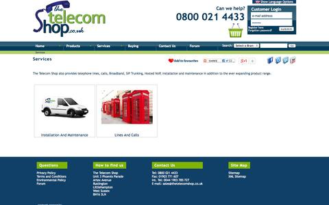 Screenshot of Services Page thetelecomshop.co.uk - Services | Telephone Systems, Phone Systems, Telephone Handsets, Telephone Headsets, BT Telephones, CCTV, Avaya - captured Sept. 19, 2014