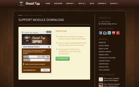 Screenshot of Support Page socialtap.com.au - SUPPORT MODULE DOWNLOAD ‹ Pub & Restaurant Social Media and Marketing.  For Pubs, Clubs, Bars and Restaurants. - captured Oct. 26, 2014