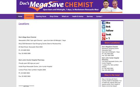 Screenshot of Locations Page docsmegasavechemist.com.au - Locations ← Doc's Mega Save Chemist | Open 8am to Midnight, 7 Days at Marketown Newcastle West - captured Sept. 30, 2014