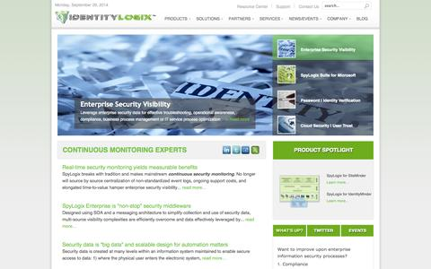 Screenshot of Home Page identitylogix.com - IdentityLogix - IdentityLogix - captured Sept. 30, 2014