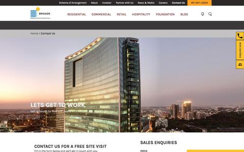 Screenshot of Contact Page brigadegroup.com - Contact Us -Residential, Commercial, Retails Queries - Brigade Group - captured May 30, 2018