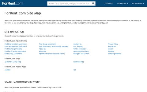 Screenshot of Site Map Page forrent.com - Site Map | ForRent.com - captured March 2, 2017