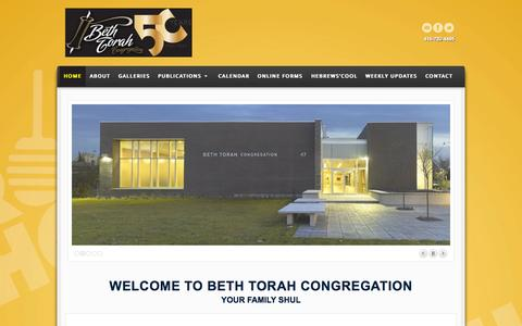 Screenshot of Home Page bethtorah.ca - Welcome To Beth Torah Congregation - Beth Torah Congregation - Your Family Shul, Located in Toronto, ON - captured Sept. 10, 2015