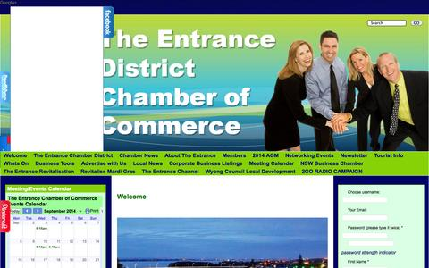 Screenshot of Home Page theentrancechamberofcommerce.com.au - Welcome to The Entrance Chamber of Commerce | The Entrance Chamber of Commerce - captured Sept. 24, 2014