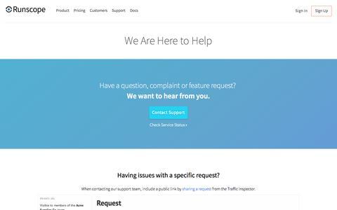 Screenshot of Support Page runscope.com - Customer Support  · Runscope - captured Oct. 2, 2015