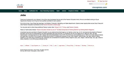 Screenshot of Jobs Page ciscopress.com - Jobs - captured Sept. 19, 2014