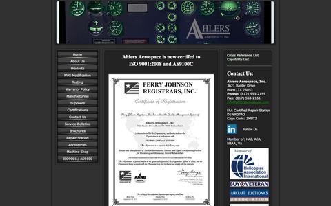 Screenshot of Home Page ahlersaerospace.com - Ahlers Aerospace Web Site - captured Feb. 5, 2016