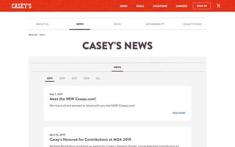 Screenshot of Press Page caseys.com - News | Casey's General Store - captured May 1, 2019