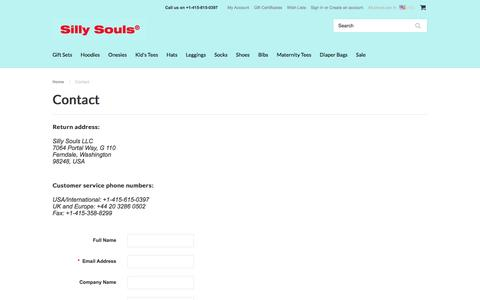 Screenshot of Contact Page sillysouls.com - Contact | Urban Baby Clothes | Baby Store | SillySouls.com - captured Feb. 23, 2016