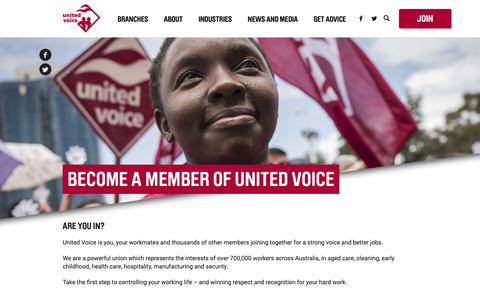 Screenshot of Signup Page unitedvoice.org.au - Join - United Voice 2018 - captured Oct. 20, 2018
